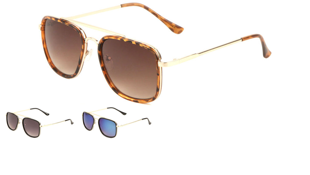 Squared Fashion Aviators Sunglasses Wholesale