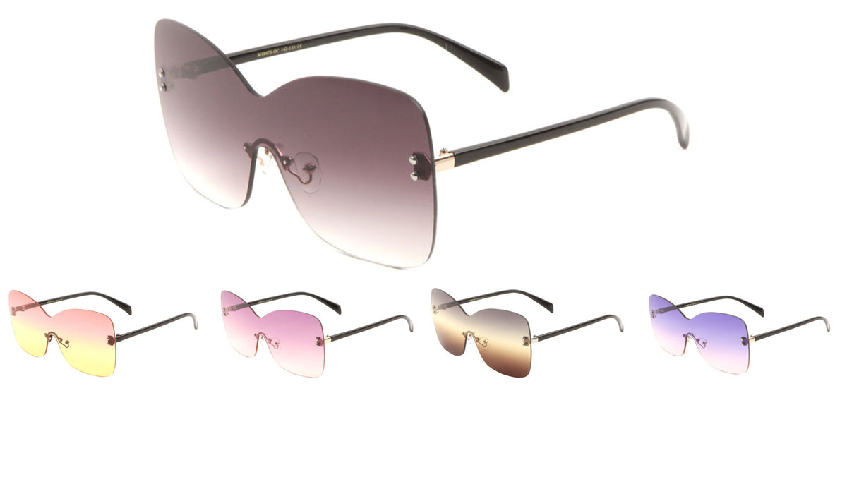 Rimless Solid One Piece Butterfly Wholesale Bulk Sunglasses