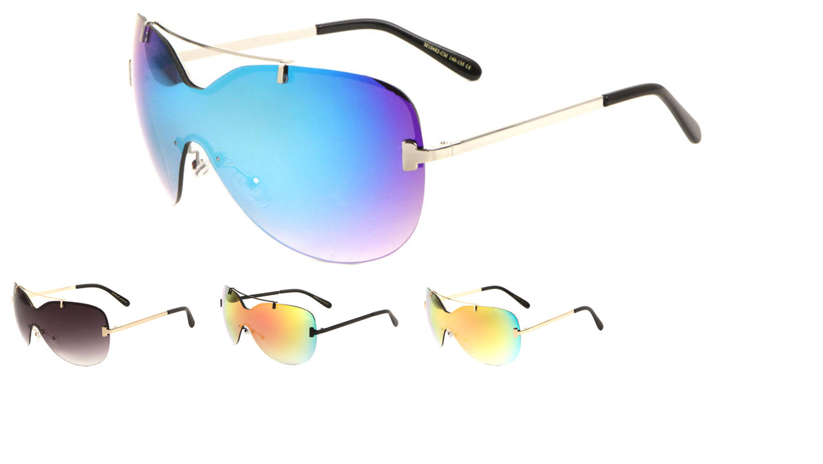 Rimless Solid One Piece Metal Top Bar Color Mirror Wholesale Bulk Sunglasses