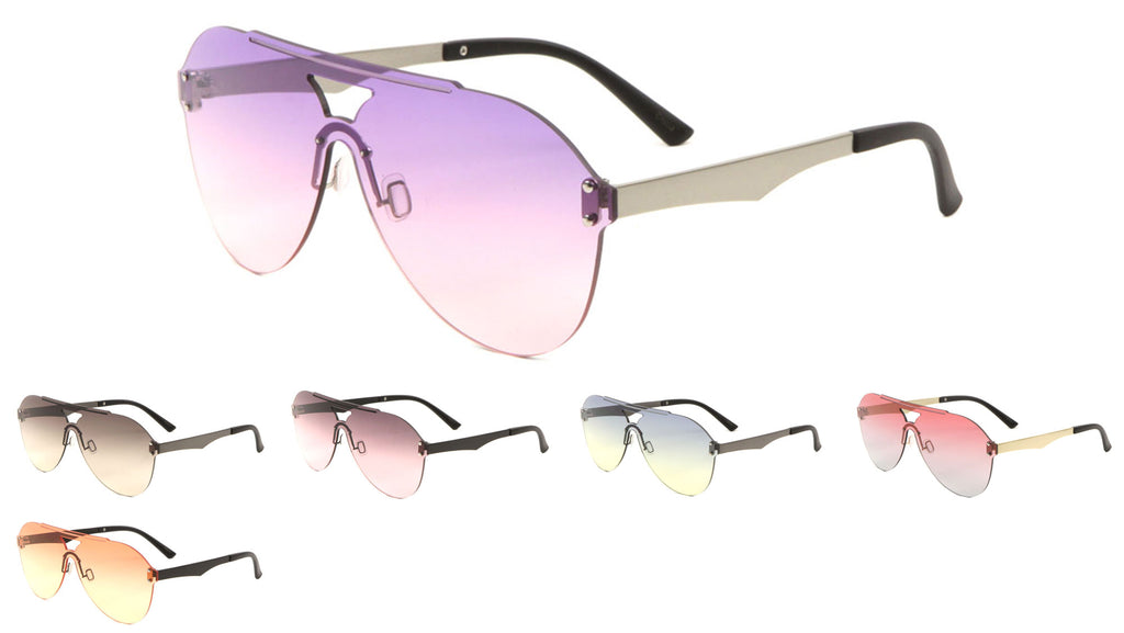 Rimless Solid One Piece Oceanic Color Aviators Bulk Sunglasses
