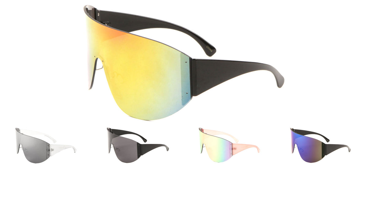 Rimless Solid One Piece Color Mirror Lens Wholesale Sunglasses