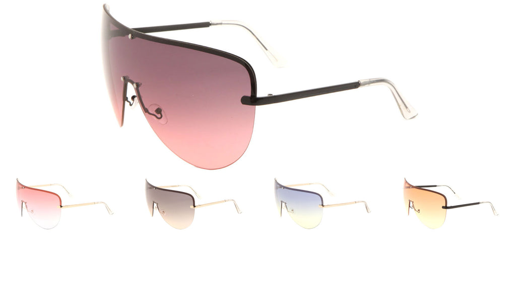 Curved Rimless Solid One Piece Oceanic Color Lens Bulk Sunglasses
