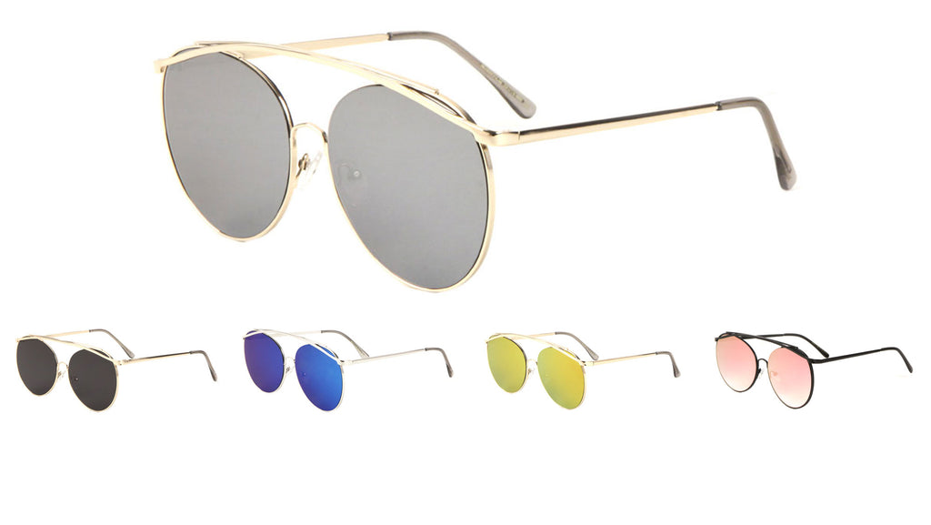 Large Rounded Color Mirror Aviators Wholesale Bulk Sunglasses