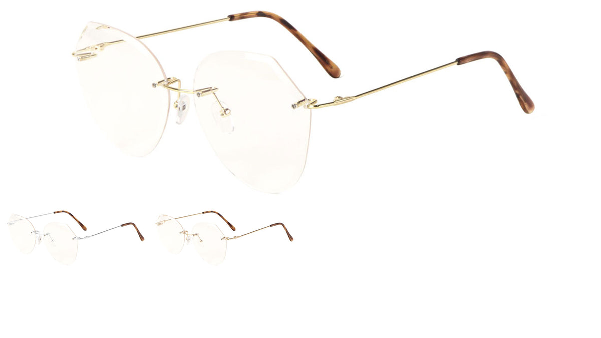 Rimless Butterfly Angled Clear Lens Wholesale Bulk Glasses