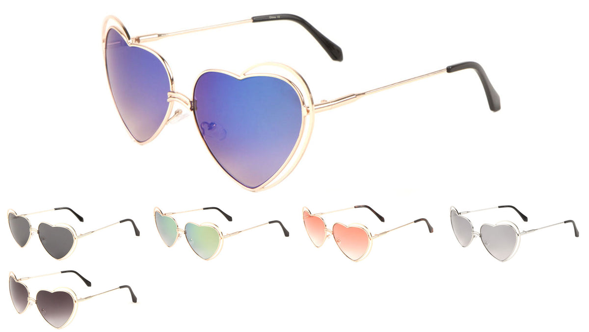 Heart Shape Color Mirror Sunglasses Wholesale