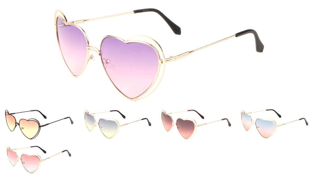 Heart Shape Oceanic Color Sunglasses Wholesale