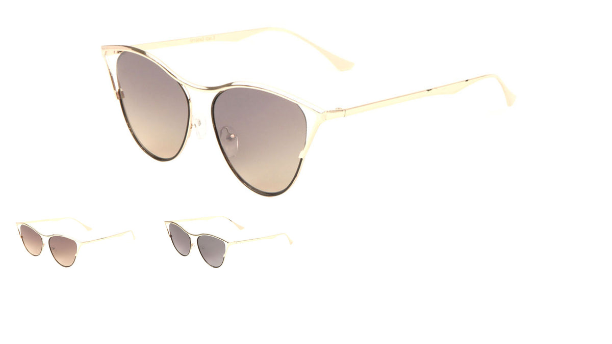 Bridgeless Wireframe Cat Eye Fashion Sunglasses Wholesale