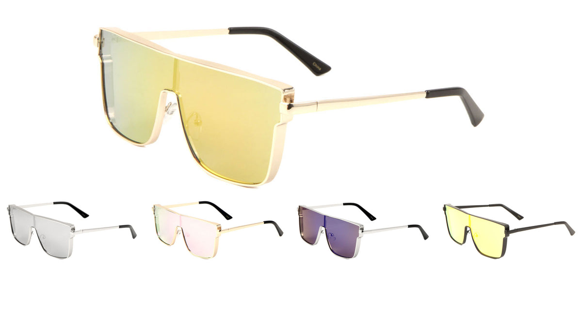 Metal One Piece Color Mirror Sunglasses Wholesale