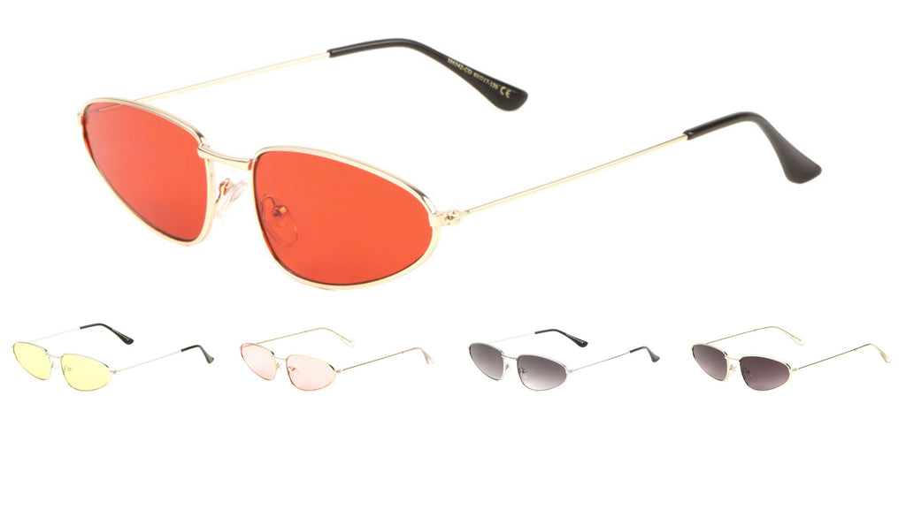Small Thin Metal Fashion Color Lens Sunglasses Wholesale