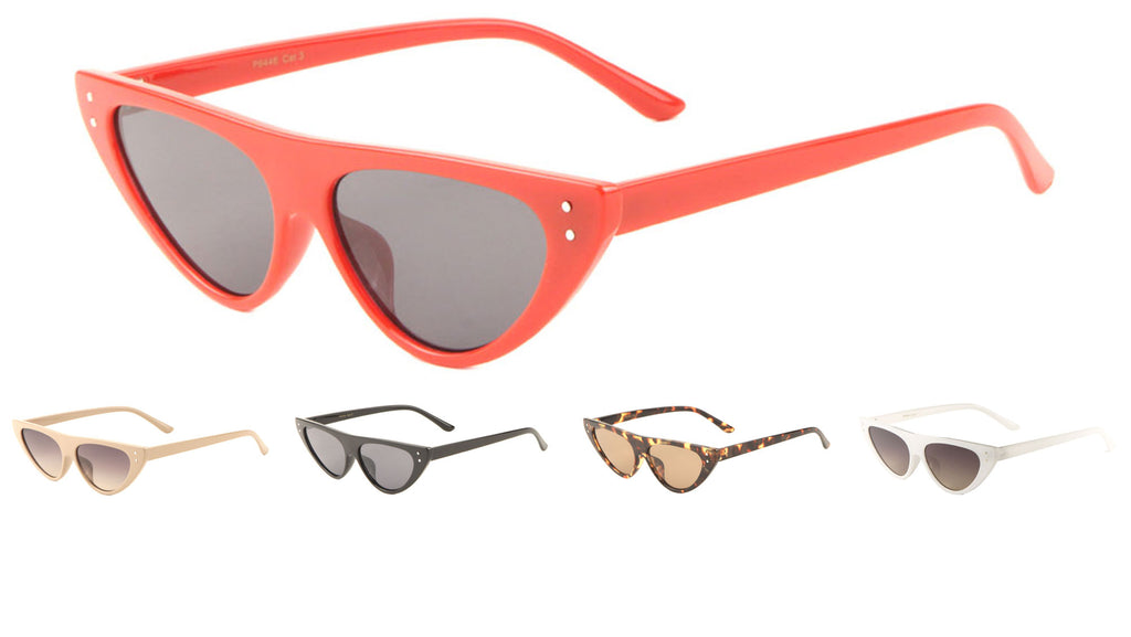 Flat Top Metal Accent Cat Eye Sunglasses Wholesale