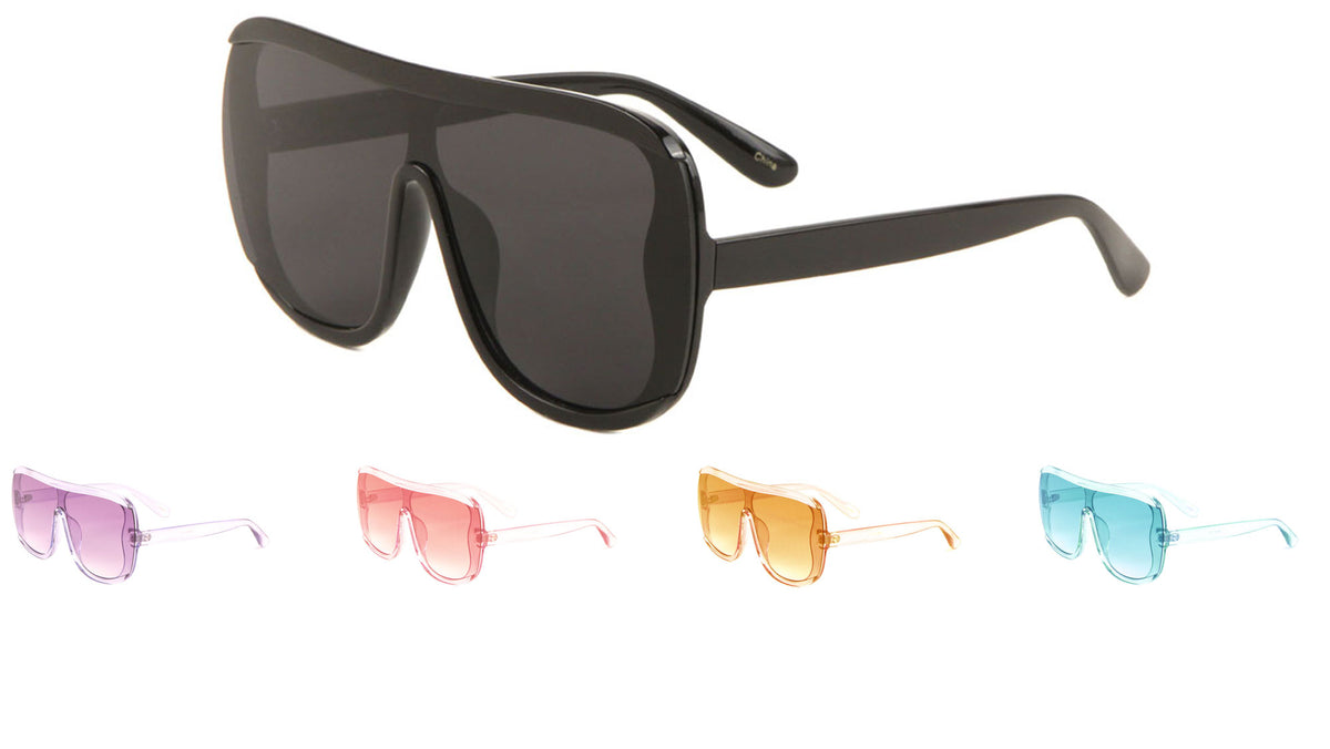 Squared Shield Crystal Color Sunglasses Wholesale