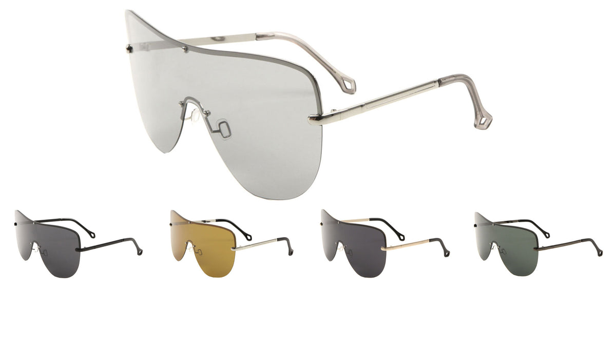 Polarized Rimless Solid One Piece Lens Bulk Sunglasses