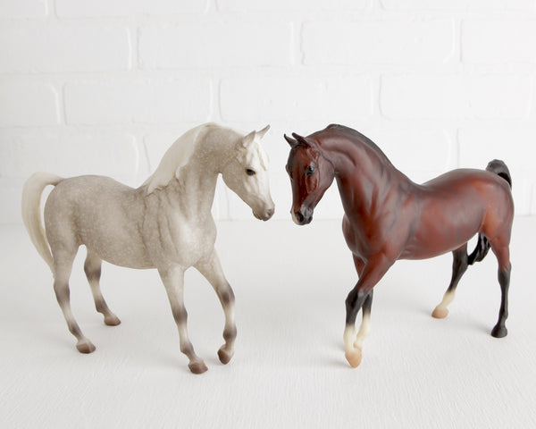 Breyer Pair of Arabians in Dapple Gray and Bay at Lobster Bisque Vintage