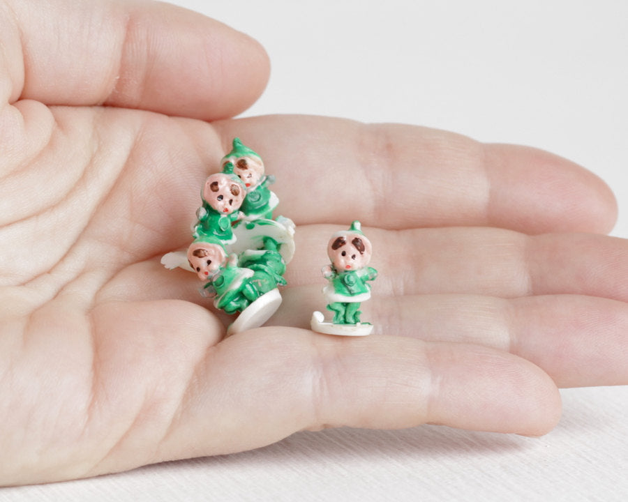 Tiny Green Elves or Holiday Pixies at Lobster Bisque Vintage