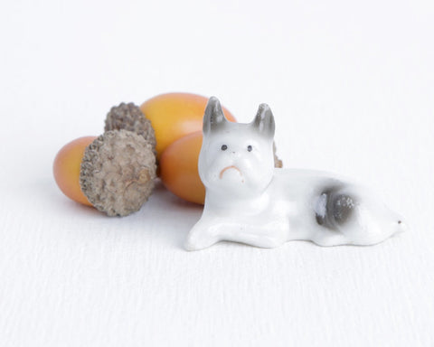 Tiny Ceramic Boston Terrier or Bulldog at Lobster Bisque Vintage