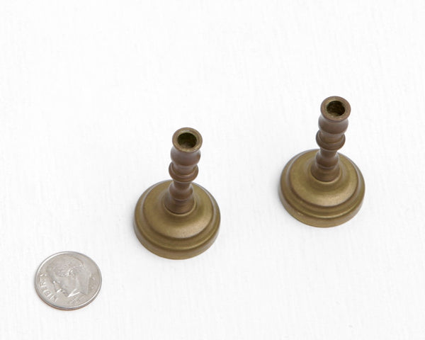 Pair Miniature Bronze or Brass Candlesticks at Lobster Bisque Vintage
