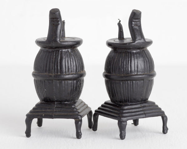 Wood Stove Salt and Pepper Shakers at Lobster Bisque Vintage