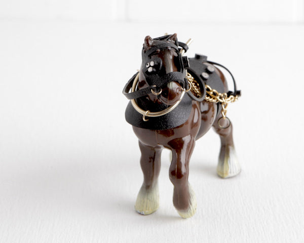 Clydesdale Horse with Black Harness at Lobster Bisque Vintage