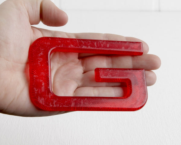 Red Hard Plastic Letter G at Lobster Bisque Vintage