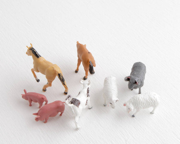 Small Farm Animal Lot with Cow, Horses, Sheep, and Pigs at Lobster Bisque Vintage