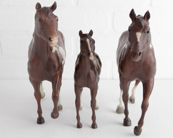 Breyer Liver Chestnut Pinto Stock Horse Family with Mare, Stallion, and Foal at Lobster Bisque Vintage
