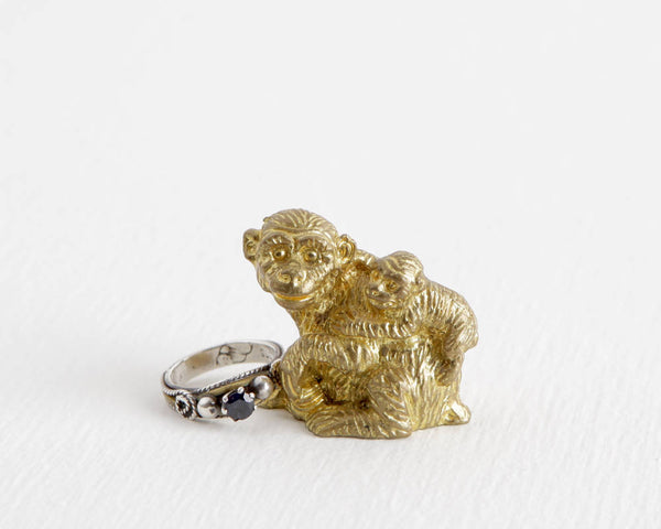 Gold Metal Monkey Mother and Baby at Lobster Bisque Vintage