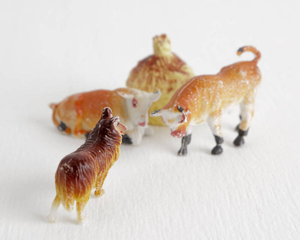 Bull, Cow, and Sheepdog Lot with Haystack at Lobster Bisque Vintage