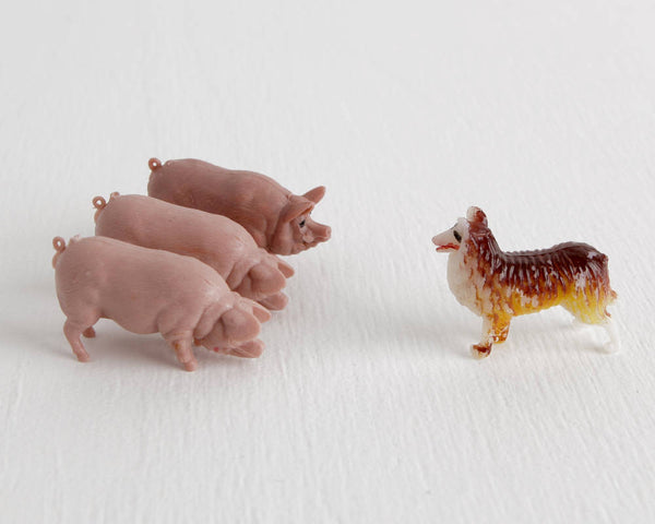 Collie Dog and Three Pigs at Lobster Bisque Vintage