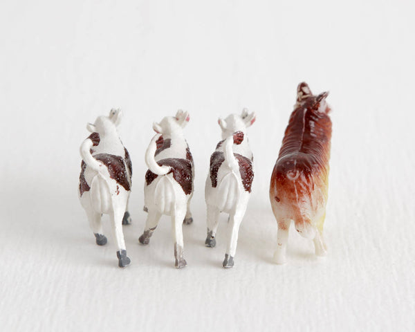 Collie Dog and Three Calves Set at Lobster Bisque Vintage