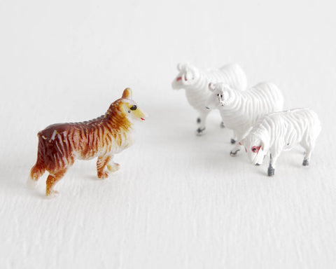 Collie Dog and White Sheep Set at Lobster Bisque Vintage