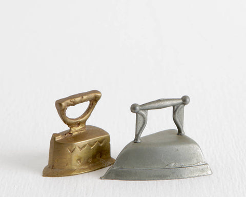 Pair of Metal Miniature Irons at Lobster Bisque Vintage