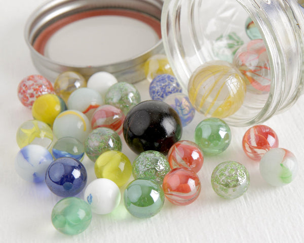 45+ Glass Marbles in Ball Jar at Lobster Bisque Vintage