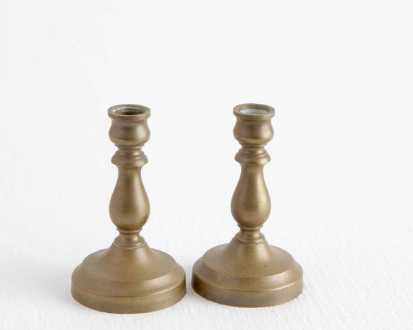 Pair of Miniature Brass Candlesticks at Lobster Bisque Vintage