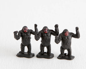 Trio of Miniature Standing Gorillas with Bases at Lobster Bisque Vintage