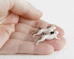 Two Tiny Rabbit Figurines at Lobster Bisque Vintage