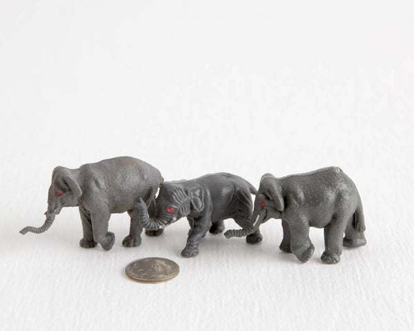 Trio of Elephant Figurines at Lobster Bisque Vintage