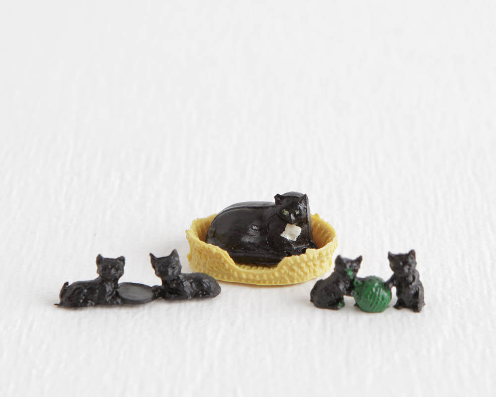 Tiny Black Cat with Basket and Four Black Kittens at Lobster Bisque Vintage