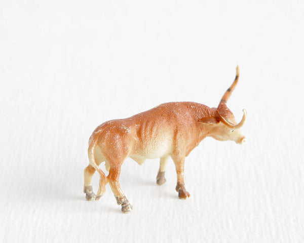 Tiny Fawn Colored Texas Longhorn Bull at Lobster Bisque Vintage