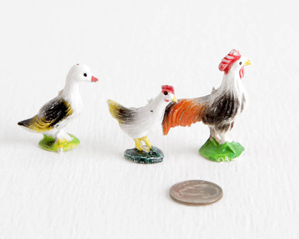 Colorful Chickens and Duck at Lobster Bisque Vintage