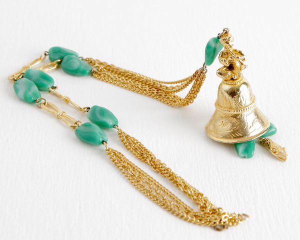Gold Tone Snake Charmer Necklace with Bell Pendant at Lobster Bisque Vintage
