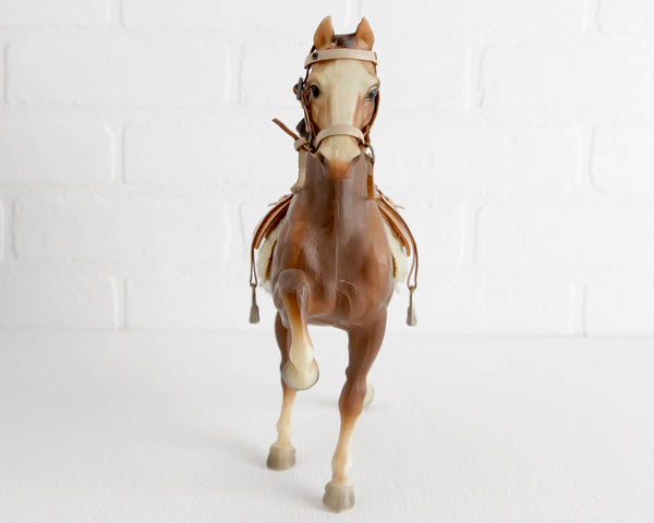 Breyer Commander Five Gaiter with Breyer Saddle and Bridle and Painted Red Ribbons at Lobster Bisque Vintage