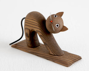 Wood Cat Figurine at Lobster Bisque Vintage