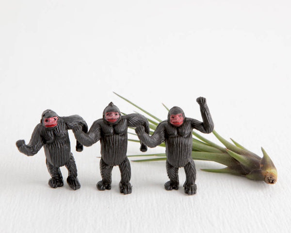 Trio of Miniature Standing Black Gorillas without Bases at Lobster Bisque Vintage