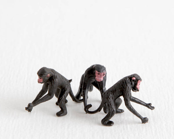Trio of Black Monkeys with Pink Faces at Lobster Bisque Vintage