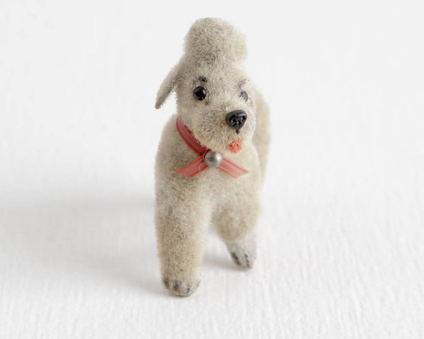 Gray Poodle Figurine with Red Collar, Wagner West Germany Handwork Kunstlerschutz at Lobster Bisque Vintage