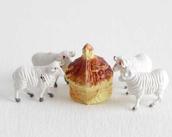 Set of Four of White Sheep with Haystack at Lobster Bisque Vintage