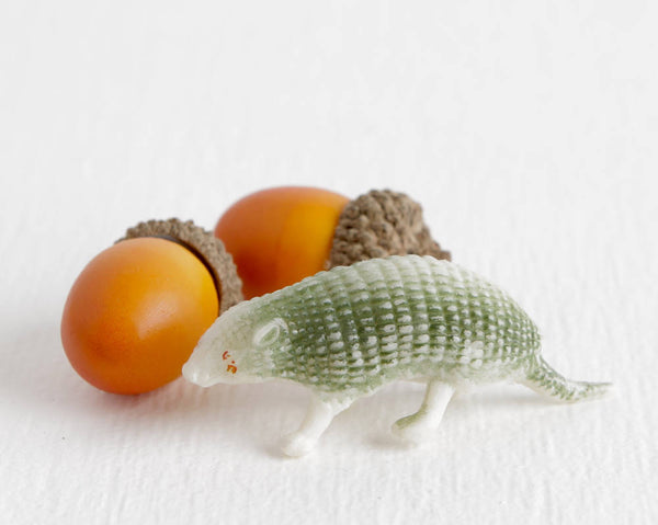 Tiny Green Armadillo Figurine at Lobster Bisque Vintage