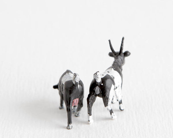 Pair of Tiny Black and White Goats at Lobster Bisque Vintage
