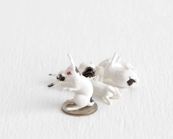 Set of 5 Tiny Rabbit Figurines at Lobster Bisque Vintage