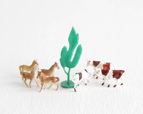 Tiny Farm Animal Lot with Four Little Ponies and Three Cows Plus Green Tree at Lobster Bisque Vintage